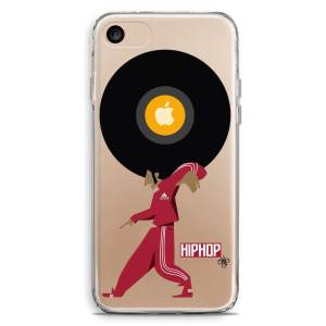 Cover trasparente rapper break dancer afro hip hop con tuta rossa e vinile