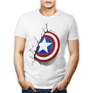 Tshirt personalizzata 100% cotone maschile con lo scudo incastrato nel muro del supereroe Marvel Avenger Captain America su maglietta bianca