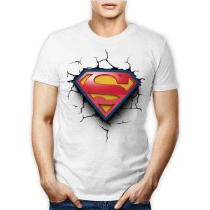 Tshirt 100% cotone personalizzata per uomo con il logo di superman l'uomo d'acciaio su maglietta bianca