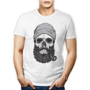 Tshirt personalizzata 100% cotone con teschio barba lunga e pipa hipster con berretto su maglietta bianca