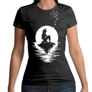 Tshirt 100% cotone con stampa frontale di Ariel La Sirenetta Disney su maglietta nera