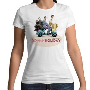 Tshirt 100% cotone con stampa frontale Vacanze Romance Audrey Hepburn su maglietta bianca