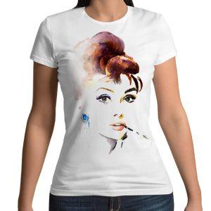 Tshirt 100% cotone con stampa frontale di Audrey Hepburn multicolore su maglietta bianca