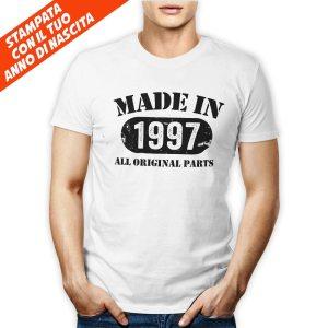 Tshirt personalizzata 100% cotone maschite con stampa frontale Made in e data di nascita personale su maglietta bianca