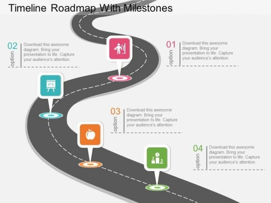 The template is really creative and the audience will be completely engaged. Timeline Roadmap With Milestones Powerpoint Template Powerpoint Templates