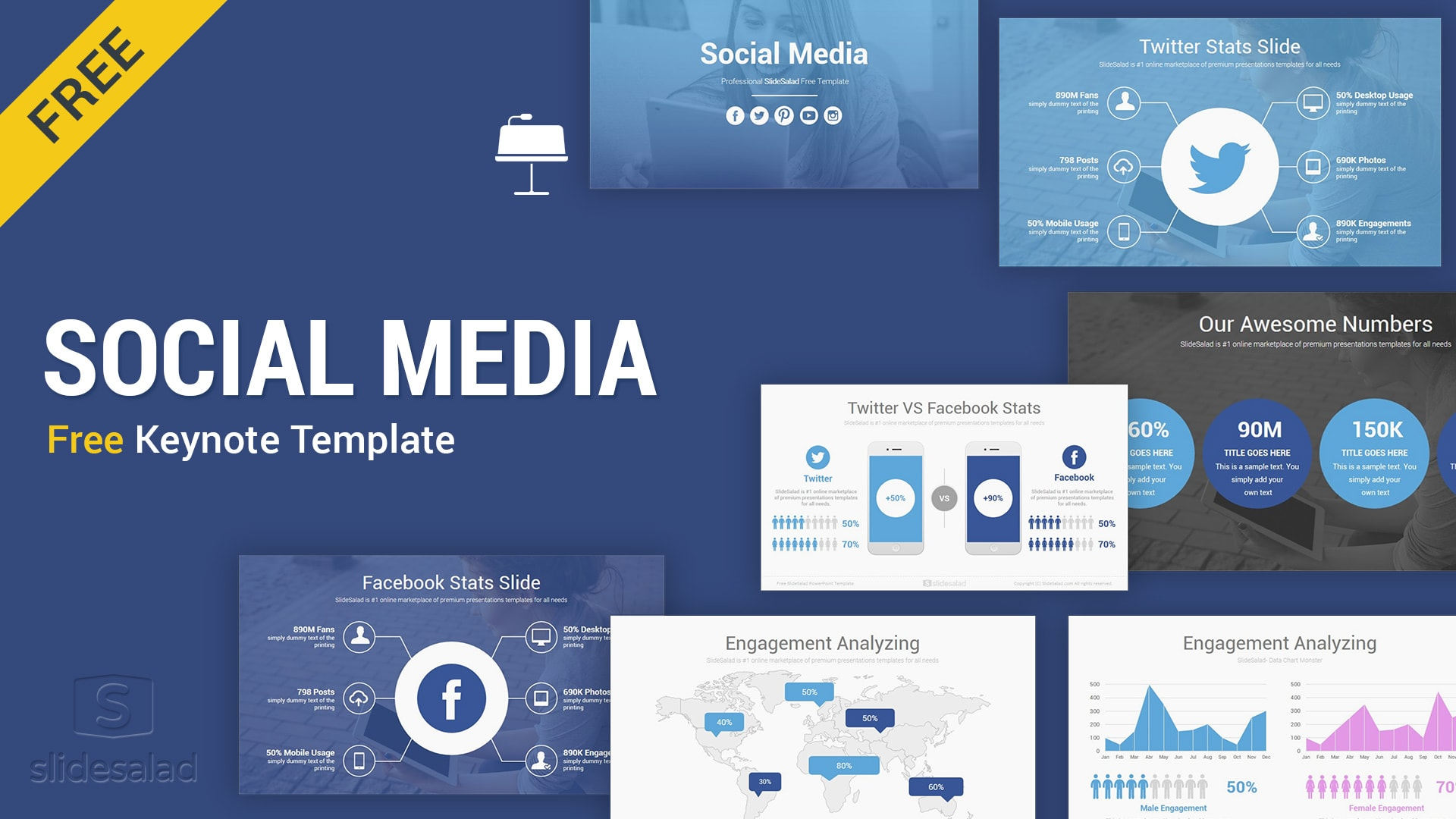 Large collection free keynote templates for mac users for business, marketing, education. Social Media Free Keynote Template Slides Slidesalad