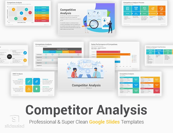 Create a simple and visual competitors analysis; Competitor Analysis Google Slides Template Slidesalad
