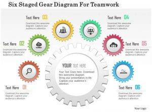 0115 Six Staged Gear Diagram For Teamwork Powerpoint