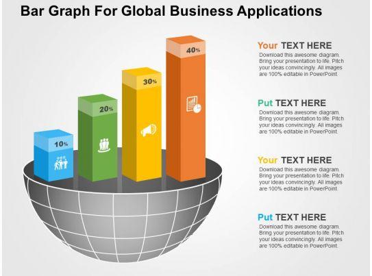 Bar Graph For Global Business Applications Flat Powerpoint Design PowerPoint Slide