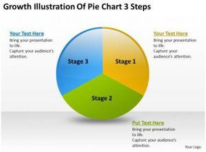 Business Diagram Growth Illustration Of Pie Chart 3 Steps Powerpoint Slides | Presentation