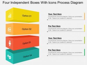 Four Independent Boxes With Icons Process Diagram Flat