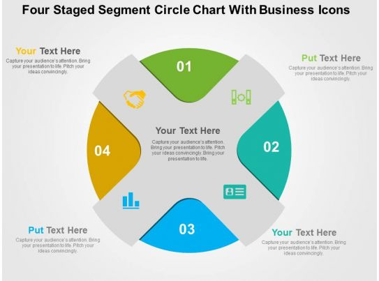 Four Staged Segment Circle Chart With Business Icons Flat