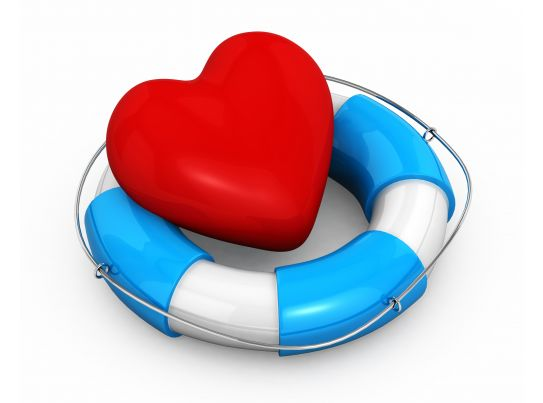 Life Saving Ring With Heart Depicting Safety And Health Stock Photo PowerPoint Shapes
