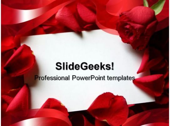 Red Roses Wedding PowerPoint Template 0610 Templates PowerPoint Slides PPT Presentation
