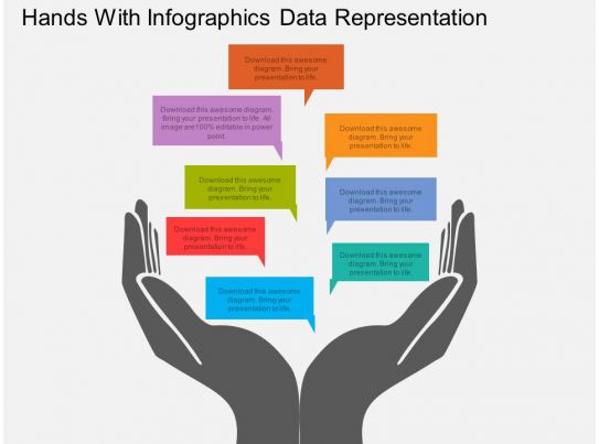 Rf Hands With Infographics Data Representation Flat Powerpoint Design Templates PowerPoint