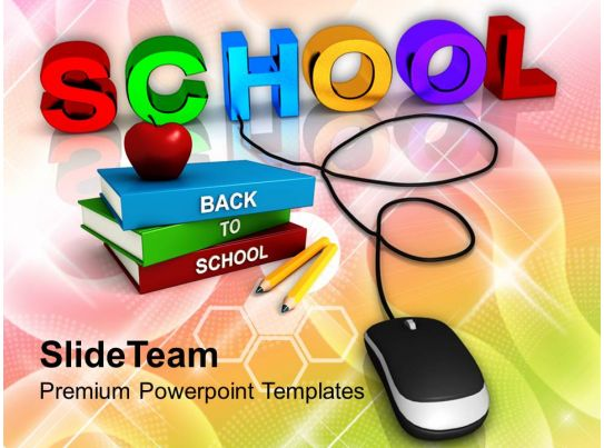 School With Computer Mouse Education Concept Powerpoint Templates PPT Themes And Graphics 0113