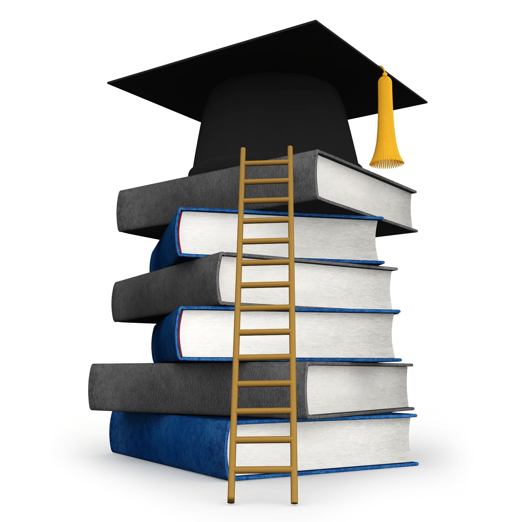 Success For Graduation With Books And Ladder Stock