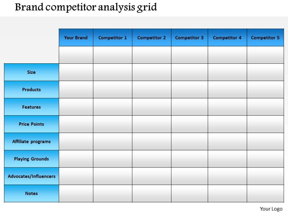 · a description of your business's target market · details about the features of your product compared to. 0714 Brand Competitor Analysis Grid Powerpoint Presentation Slide Template Powerpoint Templates Backgrounds Template Ppt Graphics Presentation Themes Templates