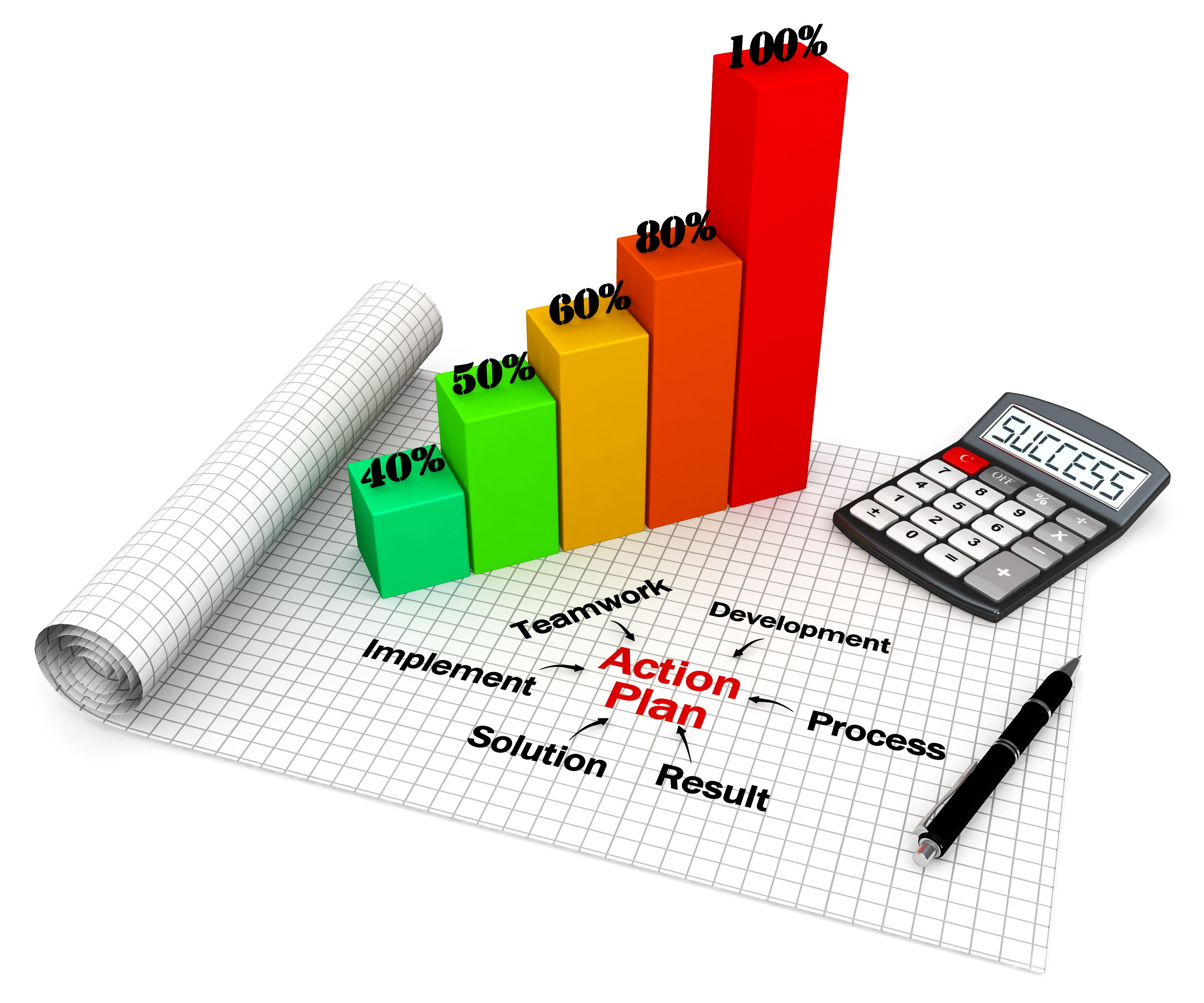 Growth Bar Graph With Action Plan Stock Photo