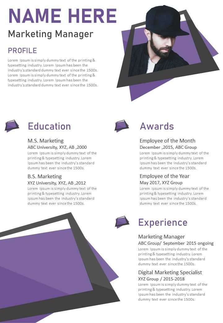 A digital marketing manager resume should clearly demonstrate a candidate's ability to effectively assess company goals, and use marketing strategies and techniques to meet them. Creative Visual Resume Template For Marketing Manager Infographic Powerpoint Templates Backgrounds Template Ppt Graphics Presentation Themes Templates