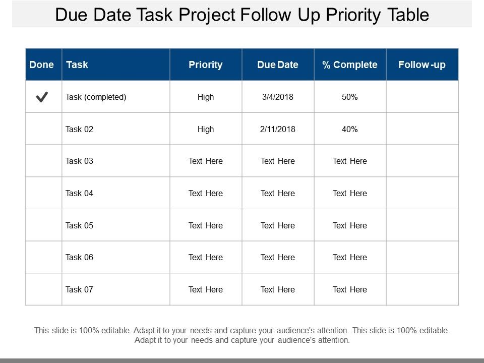 Download task prioritization matrix template. Due Date Task Project Follow Up Priority Table Powerpoint Templates Backgrounds Template Ppt Graphics Presentation Themes Templates