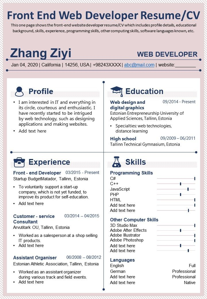 You have 3+ years of development experience within a node.js/react.js or similar environment. Front End Web Developer Resume Cv Presentation Report Infographic Ppt Pdf Document Presentation Graphics Presentation Powerpoint Example Slide Templates