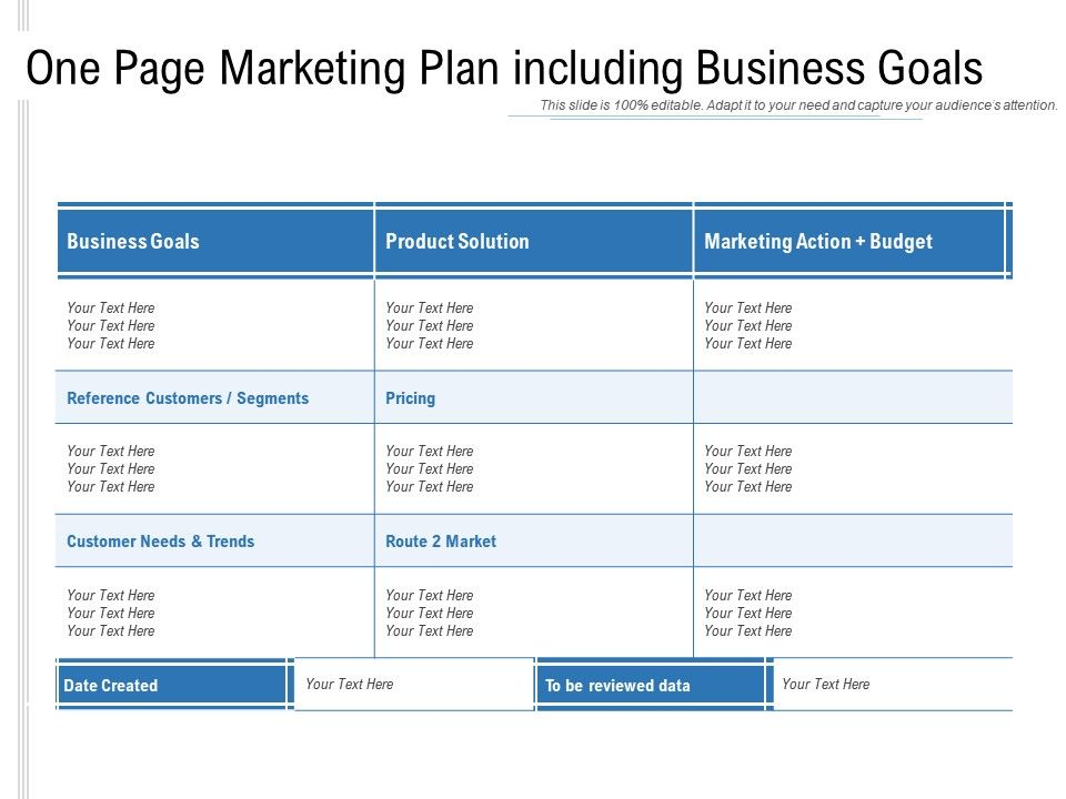 An effective marketing plan will: One Page Marketing Plan Including Business Goals Powerpoint Slides Diagrams Themes For Ppt Presentations Graphic Ideas