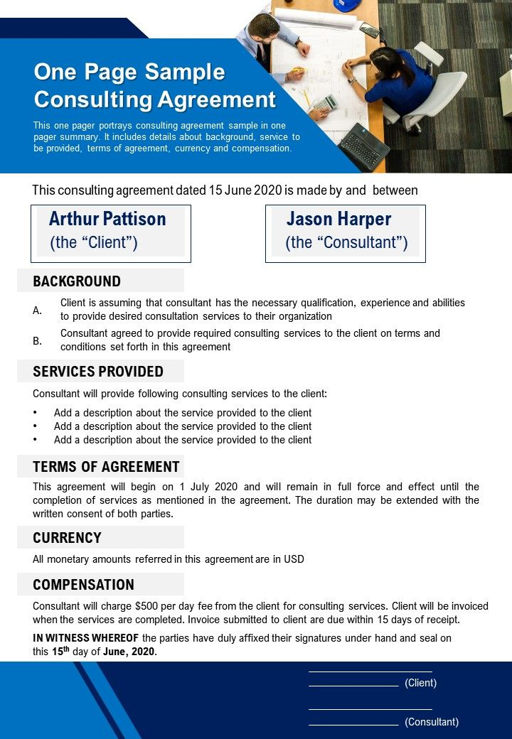 13/02/2018· here are 21 free consultant agreement templates & samples in ms word to help you prepare and print your own consultant agreement quickly. One Page Sample Consulting Agreement Presentation Report Infographic Ppt Pdf Document Presentation Graphics Presentation Powerpoint Example Slide Templates