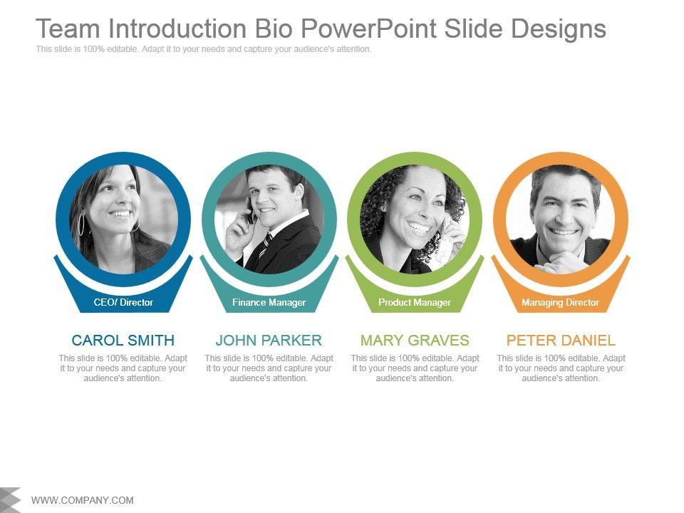 Team Introduction Bio Powerpoint Slide Designs