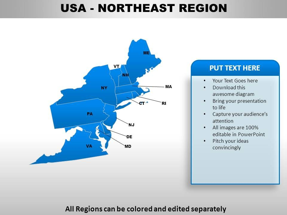 Jeff wise heads down east to uncover the mysteries of this quintessential yankee getaway a remote. Usa Northeast Region Country Powerpoint Maps Presentation Powerpoint Diagrams Ppt Sample Presentations Ppt Infographics