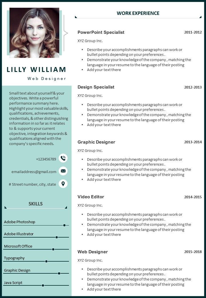 Degree in communications/journalism or education in a related field. Web Designer Cv Template With Job Description Templates Powerpoint Presentation Slides Template Ppt Slides Presentation Graphics