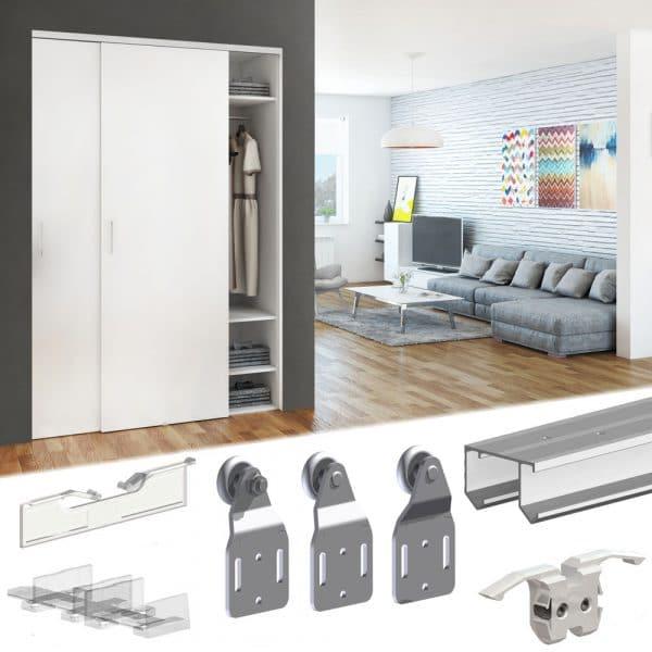 slid up 110 sliding closet door hardware kit