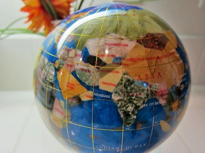 the gemstone globe from Things Remembered makes a gorgeous gift., for the globe-trotters and the armchair travelers