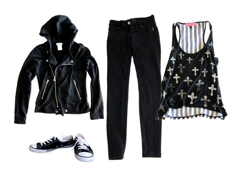 outfit 5: black skinnies, fashion tank, moto hoodie, converse (night out on the town)