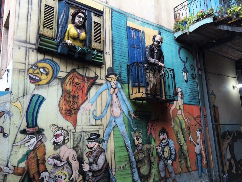 colorful street art on buildings... and more mannequins