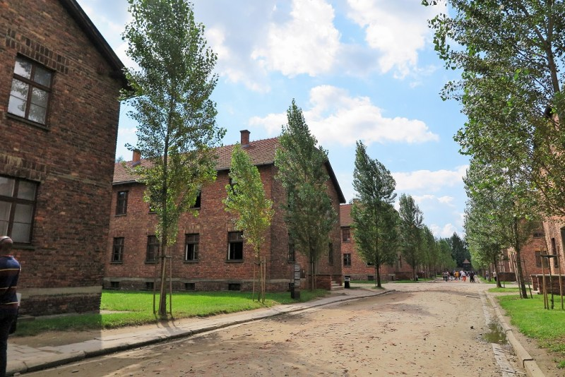 Auschwitz red brick buildings 3