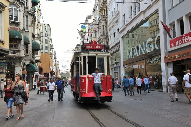 hitching a ride on the iconic Istiklal tramcar