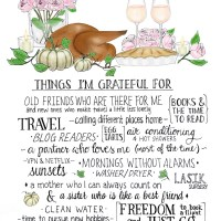 A hand lettered gratitude list (Thanksgiving 2015)