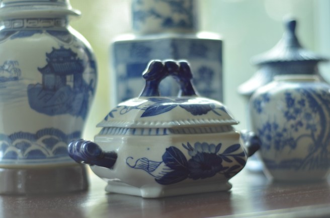 Blue and White Chinoiserie in a French Country setting. Check out this bedroom makeover if you love blue and white. www.slightlycoastal.com