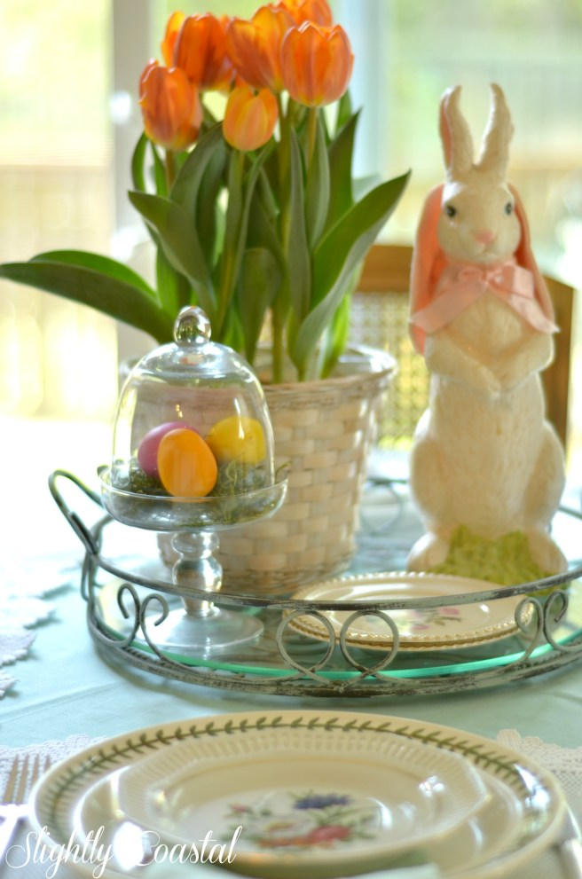 Easter Tablescape with Bunny Centerpiece