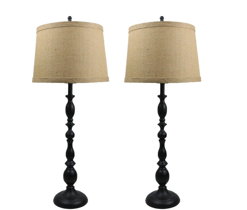 A pair of lamps that come with burlap shades for this price? Amazing! Great black candlestick lamps with the perfect textured shades.