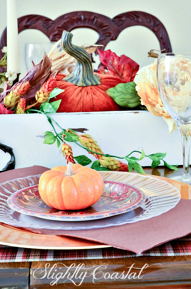 This beautiful Thanksgiving Tablescape was created using mostly disposable paper plates. A quick easy & Paper Tablescape Thanksgiving |