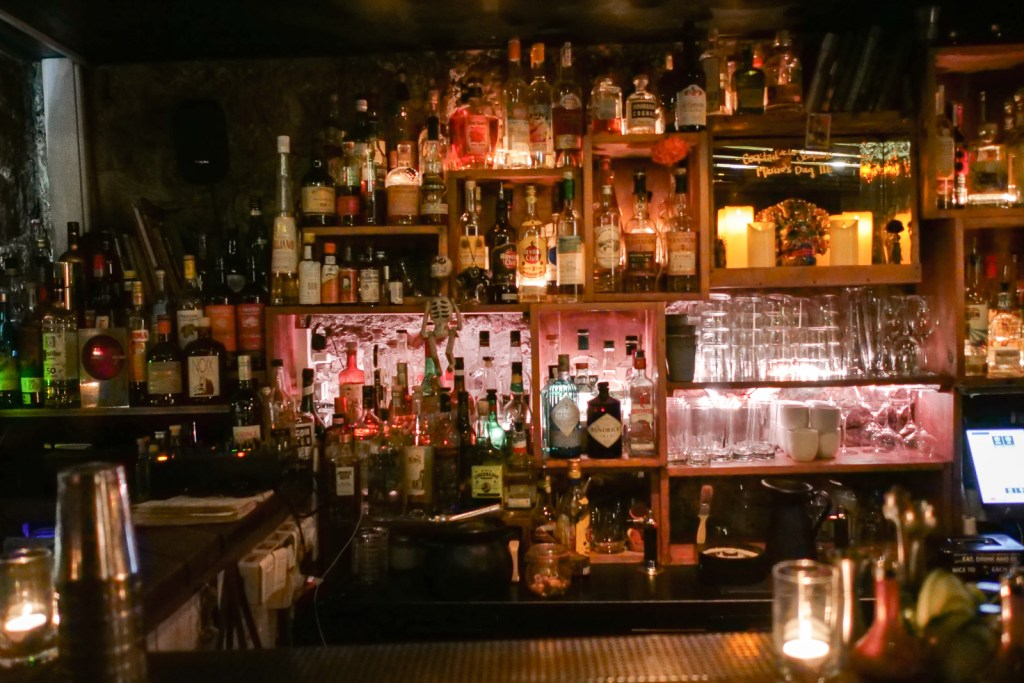 Behind the bar at Candelaria