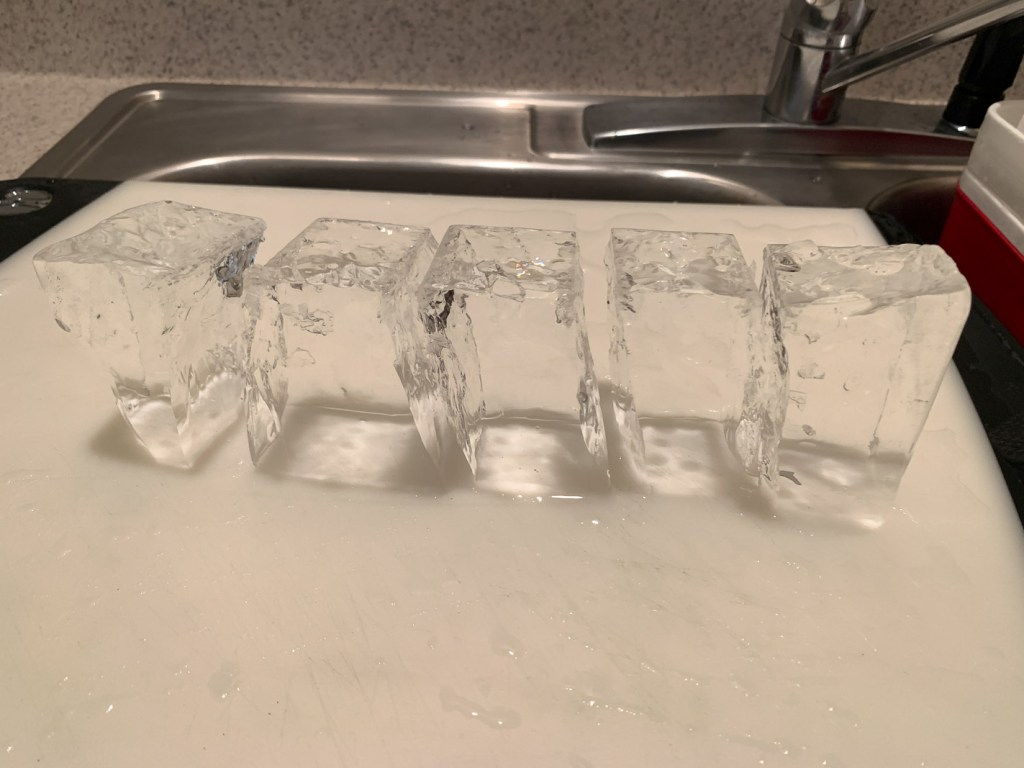 Beautiful finished clear ice cubes!