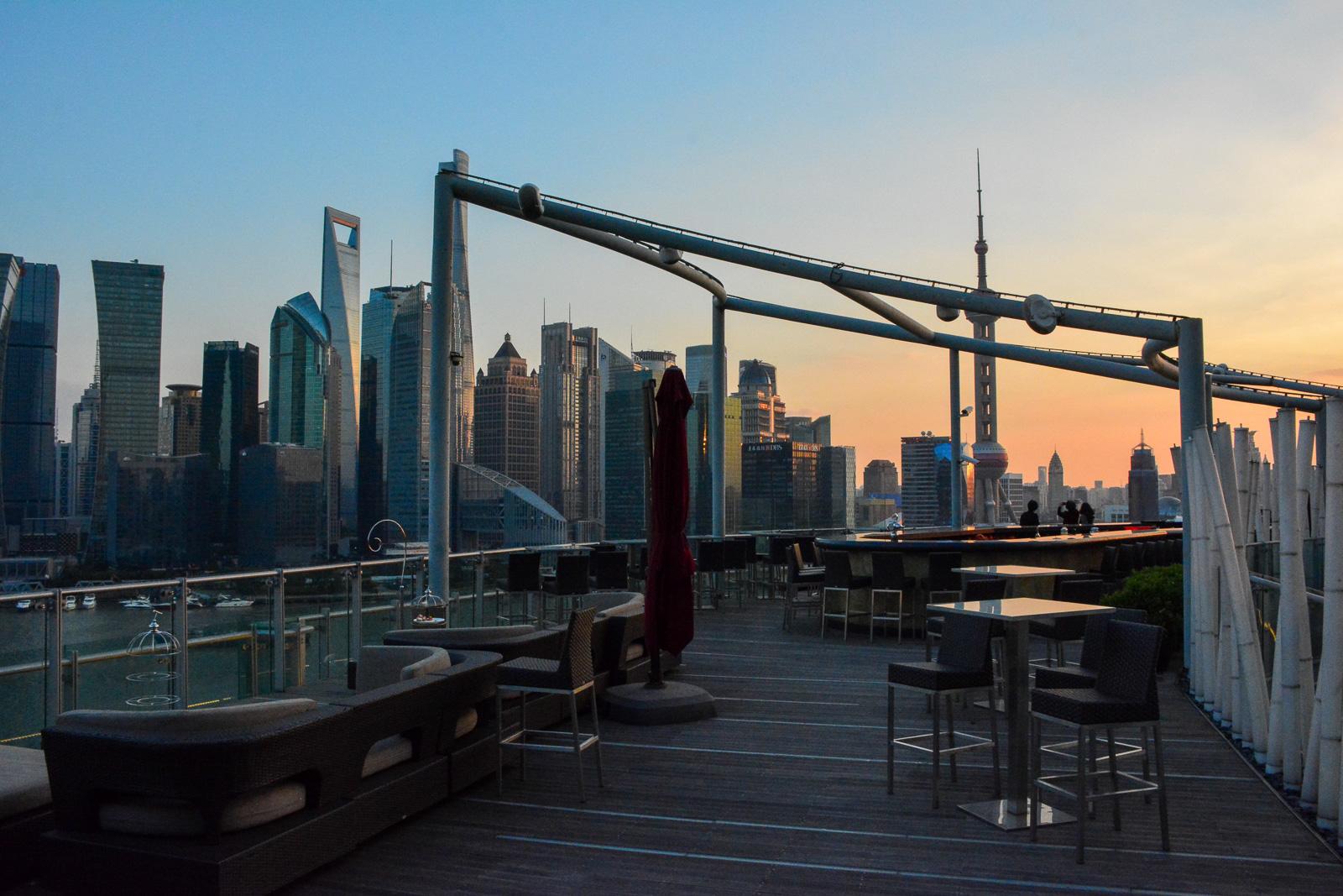 The Banyan Tree Shanghai rooftop bar.