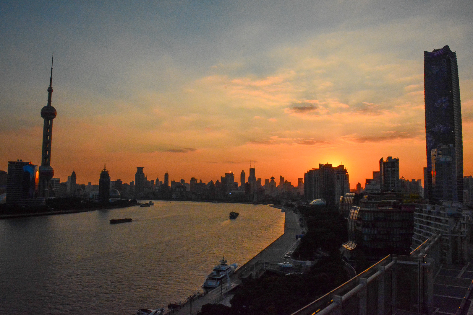 Sunset view from the rooftop bar.