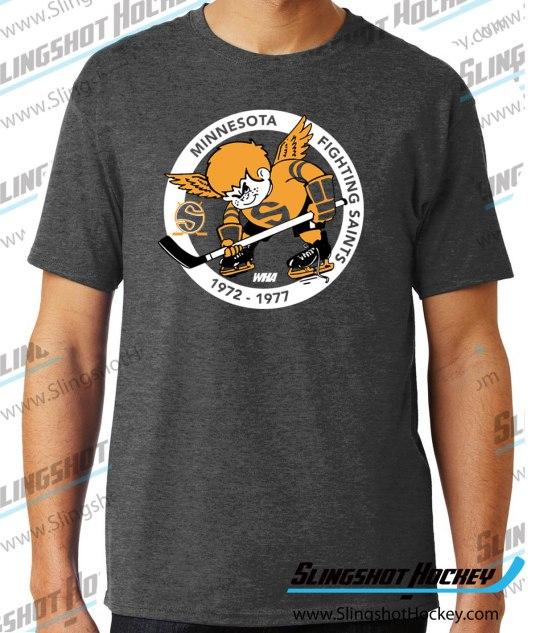 Minnesota-Fighting-Saints-charcoal-heather-grey-hockey-tshirt