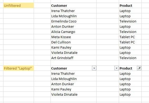 Filter spreadsheet data