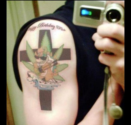 Cool Bowser/Hippie Tattoo. It's what Bowser would look like if he smoked