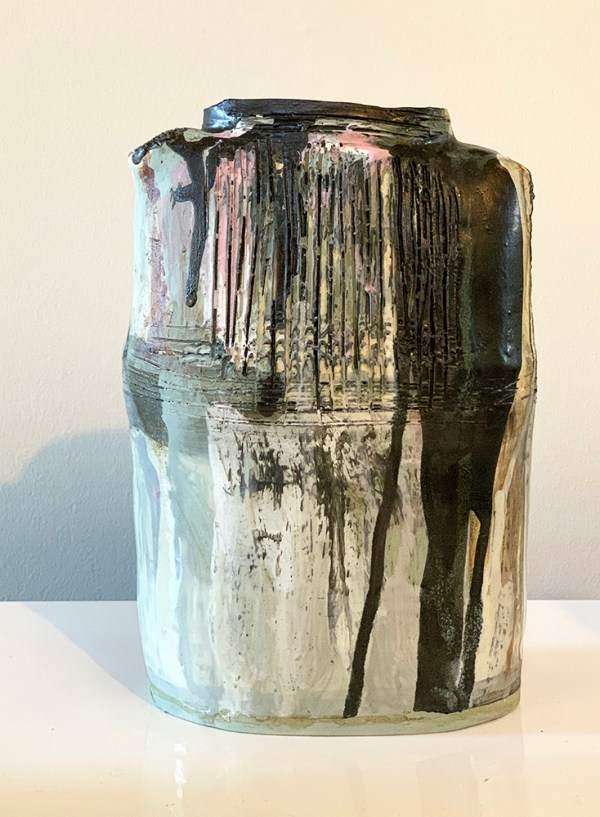 tall vase with black dripped glaze